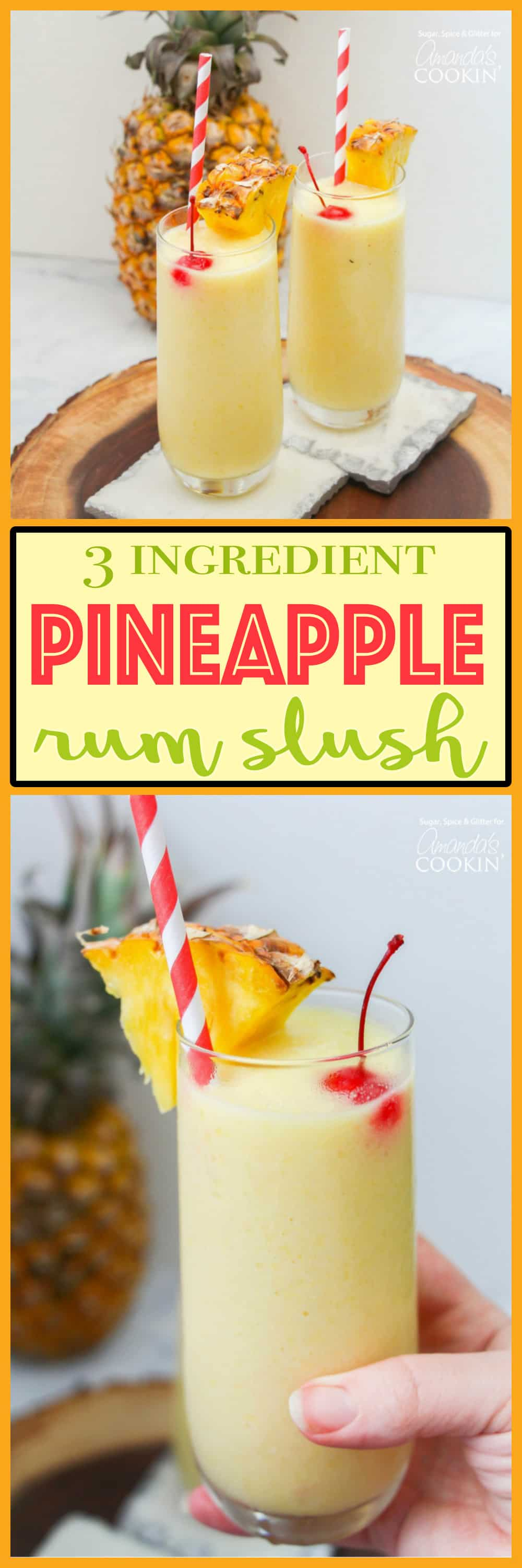 This pineapple rum slush is the perfect quick cocktail for a crowd, or for a nice refreshing drink after winding down from a hot summer day.