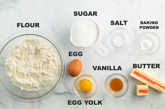 labeled ingredients for sugar cookie recipe