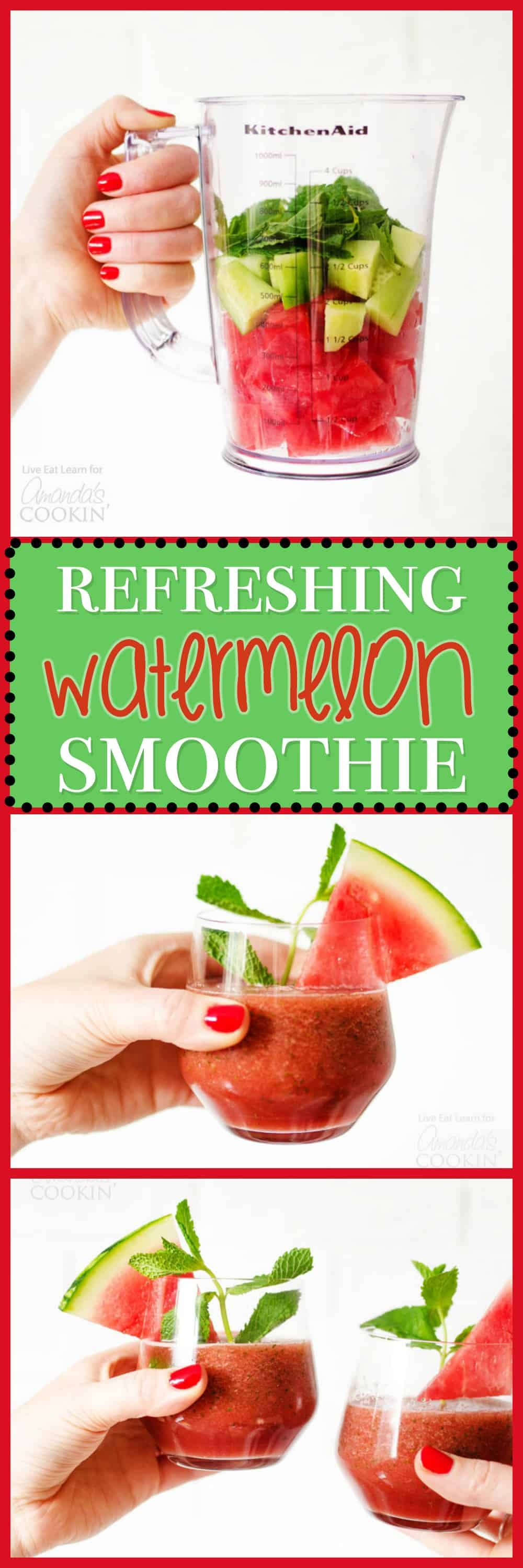 This refreshing Watermelon Smoothie has frozen watermelon, mint, and cucumber making it ultra-hydrating (not to mention WAY delicious).