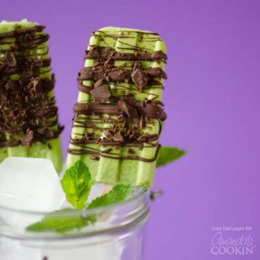 These Coconut Mint Chocolate Popsicles contain only five ingredients with no artificial colors or flavors, making a refreshing and healthy summer treat!