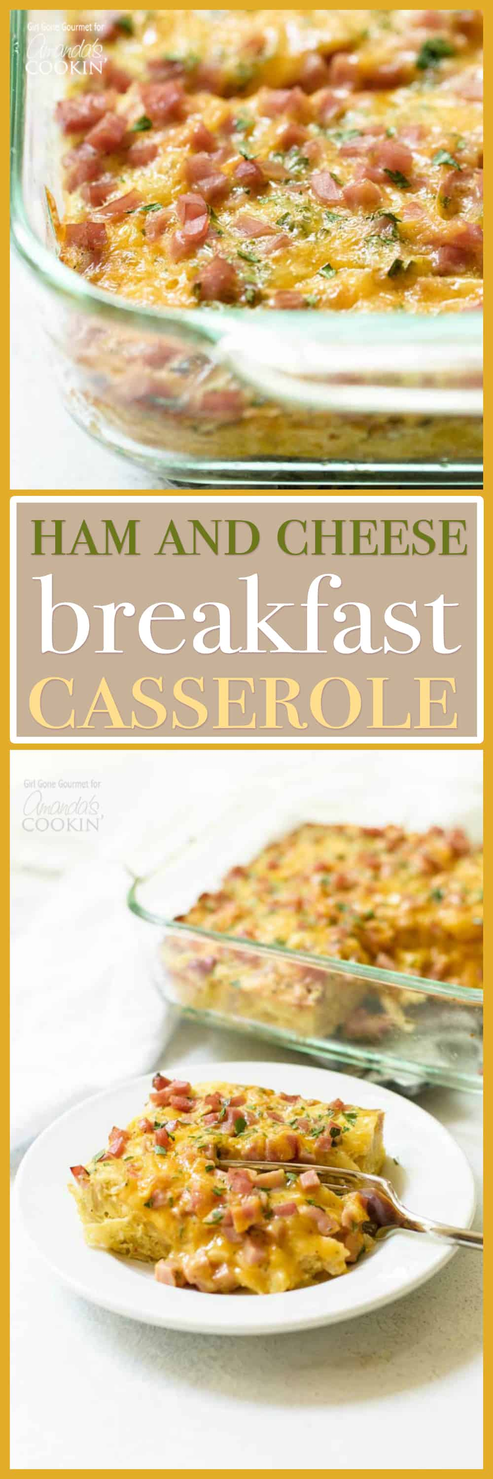This breakfast casserole with ham and cheese serves four and is so simple to make it will be your go-to breakfast during the busy work week!