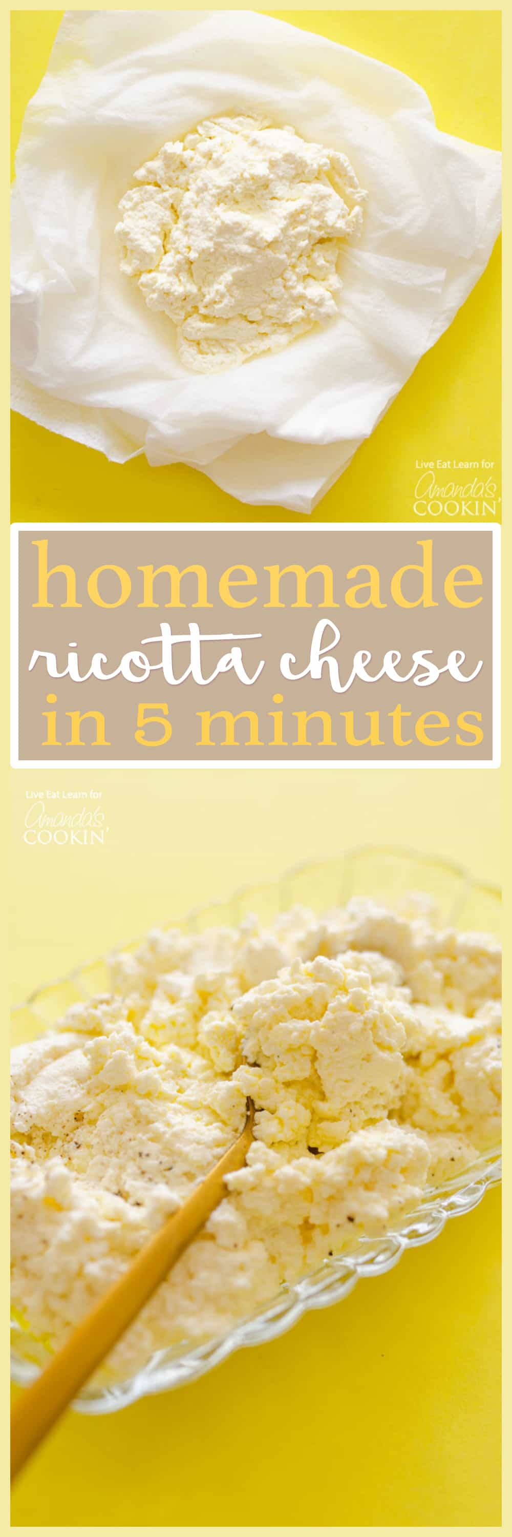 For homemade ricotta in 5 minutes, you'll need a microwave, some milk, lemon, and salt. Don't worry about the hassle of a thermometer and cheesecloth!