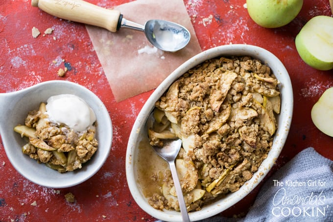 This baked apple crisp will be a new family favorite, especially with a scoop of vanilla ice cream on top!