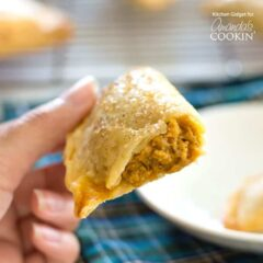 These pumpkin hand pies only require four ingredients so they're quick and easy to make. Everyone will enjoy eating this fun version of pumpkin pie!