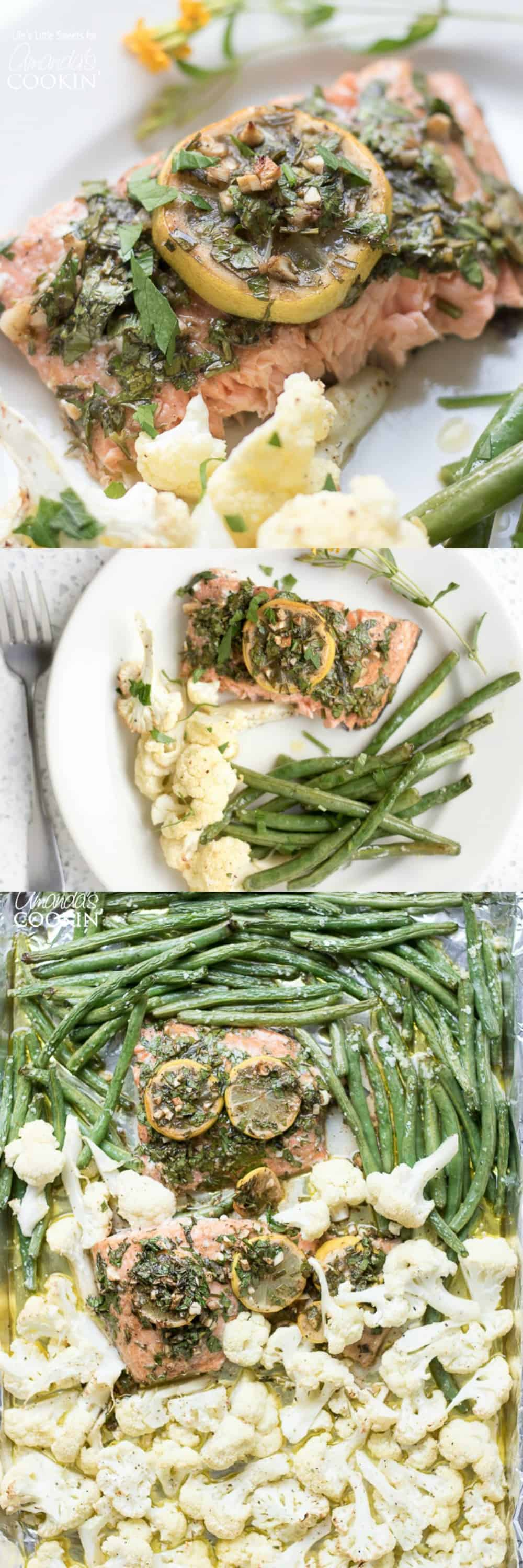 This Sheet Pan Salmon Dinner with lemon and tarragon is served with savory roasted green beans and cauliflower. A 30-minute recipe you'll love!