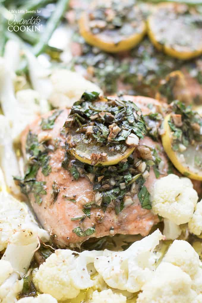 Sheet pan salmon dinner