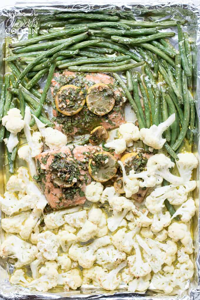 Salmon sheet pan dinner with green beans and cauliflower from above