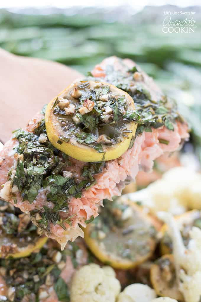 Delicious sheet pan salmon with lemon and tarragon