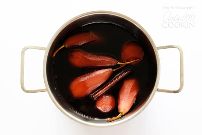 Stewed pears are soaked in red wine and spiced with the flavors of Christmas, they like to make a big batch of these and set them on the table with dinner, dessert breakfast...whenever!