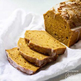This pumpkin bread is an easy baking project to jump-start the fall season. The maple glaze drizzled on top makes a great treat for breakfast or dessert.