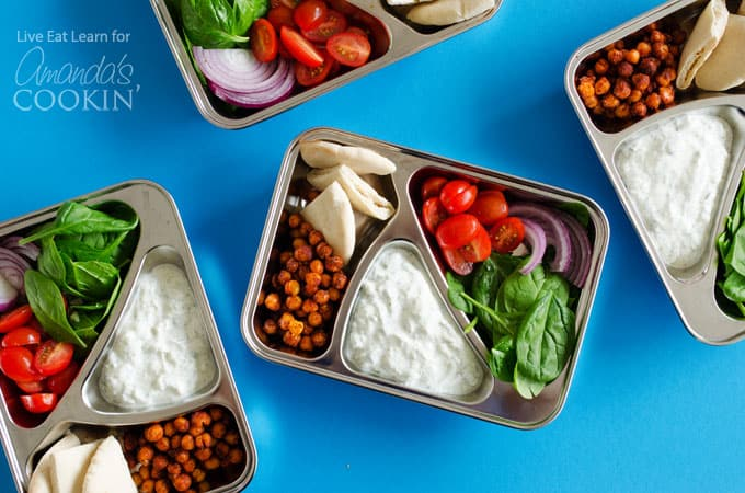 Chickpea Gyro Lunch Boxes: a 30 minute meal prep for the whole week!