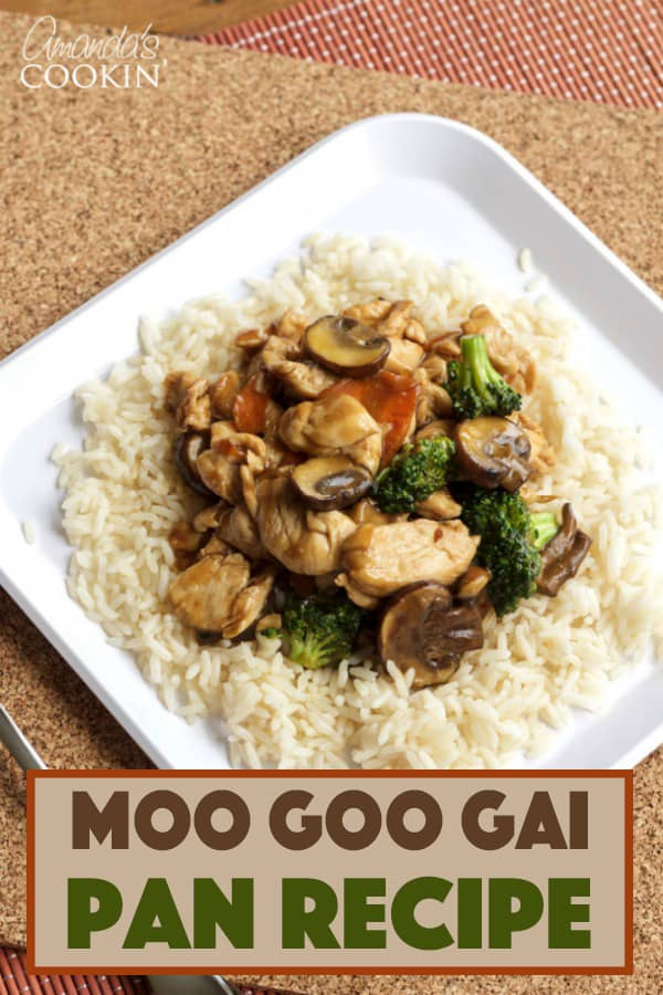 A plate of food with rice and broccoli, with Chicken and Moo goo gai pan