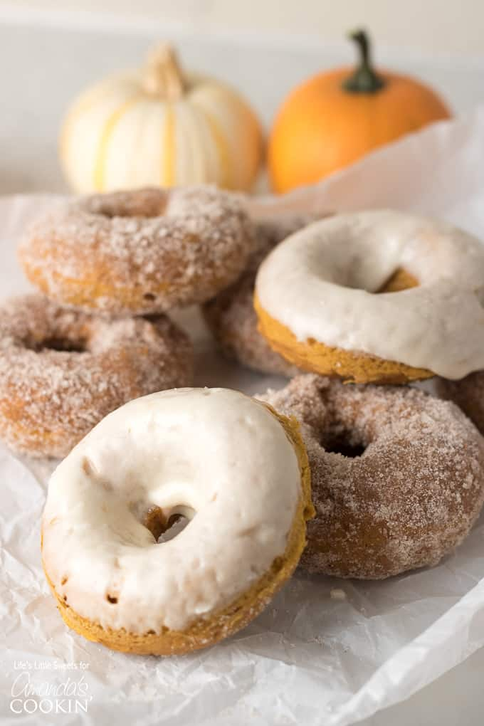 These Pumpkin Spice Donuts are a delicious treat for breakfast OR dessert!