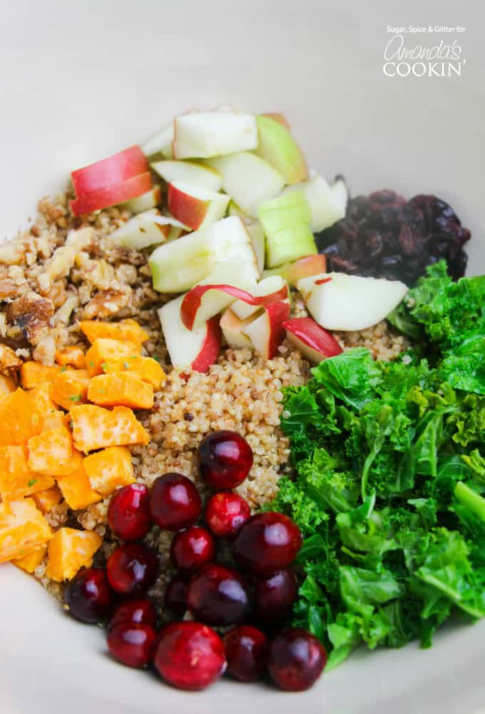 Fall quinoa salad ingredients in a bowl