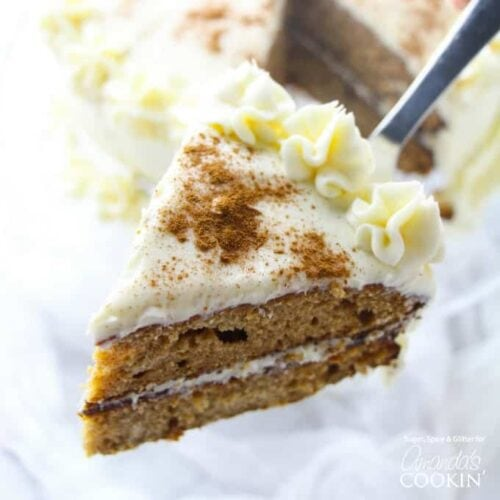 slice of spice cake on spatula