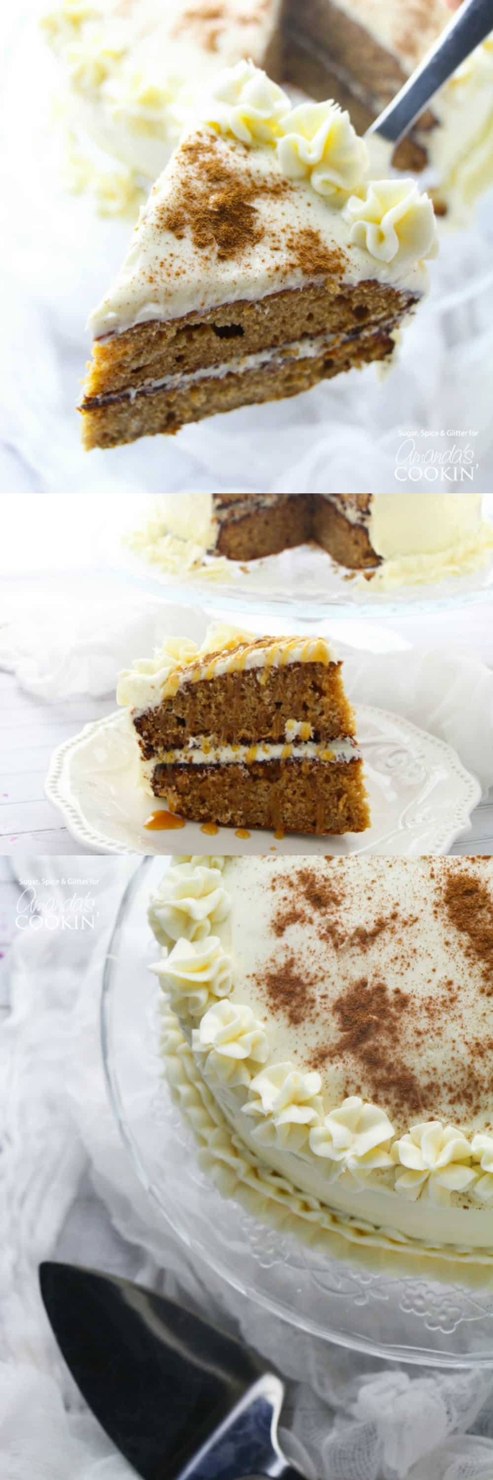 This spice cake has all of the classic flavors of fall - pumpkin spice, cinnamon, apple, even a hint of molasses then topped with a cream cheese frosting.