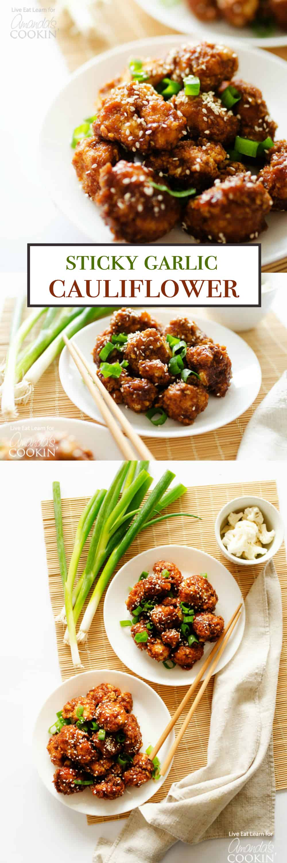 This Sticky Garlic Cauliflower tastes just like the sticky garlic chicken dishes at your favorite Chinese place, but made completely from veggies!