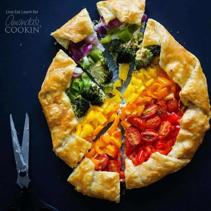 Vegetable Rainbow Tart cut into pieces