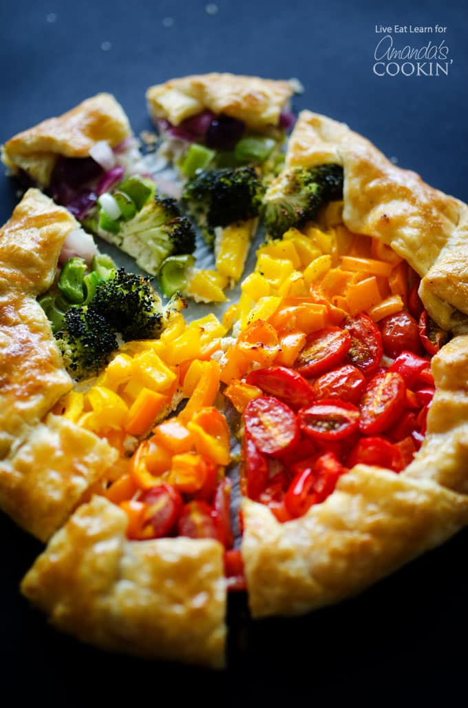 Vegetable Rainbow Tart, a deliciously colorful veggie dish!