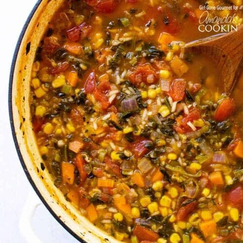 vegetable rice soup in a pot