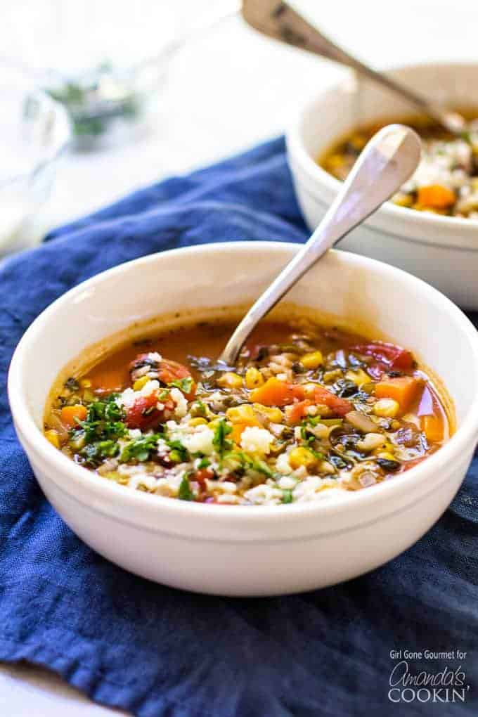 This one-pot vegetable rice soup is a hearty soup packed with good-for-you veggies and rice.
