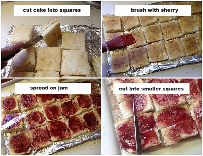 showing how to cut, brush, and add jam to the cake