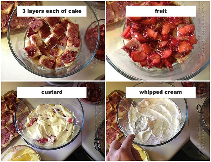 photo illustrations of layering an English trifle