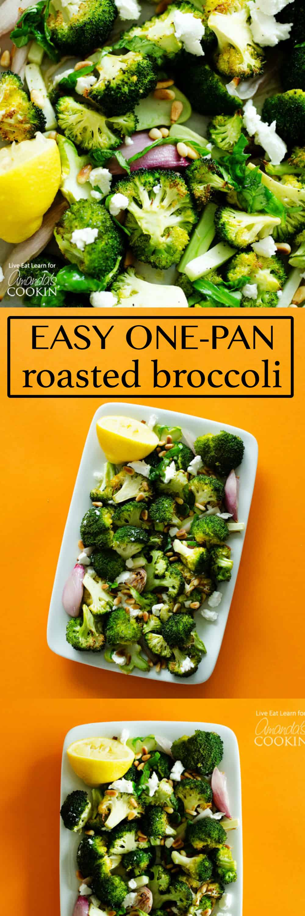 This one-pan Roasted Broccoli dish is complimented with lemon basil dressing, crumbled goat cheese, and toasted pine nuts!