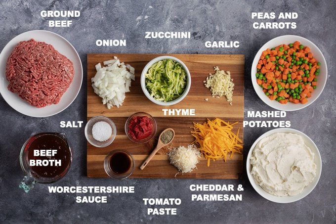 ingredients to make shepherds pie