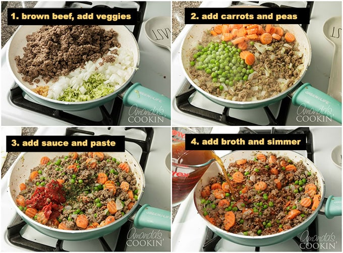 collage of photos demonstrating the process of making shepherds pie