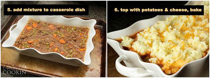 shepherds pie mixture in a casserole dish