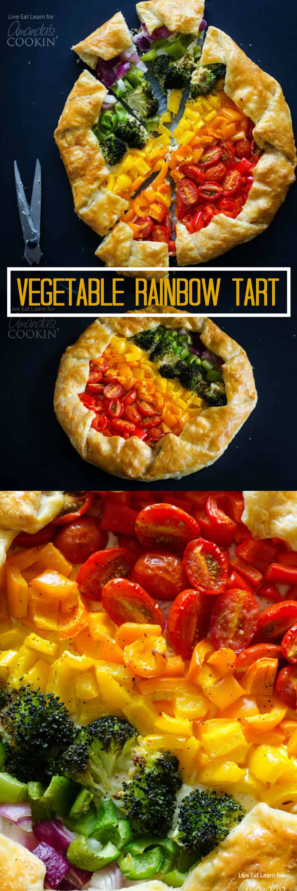 Vegetable Rainbow Tart: Give your veggie side dish a colorful boost. With puff pastry and a ricotta cheese base, this is as tasty as it is colorful.
