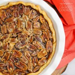 overhead photo of pecan pie