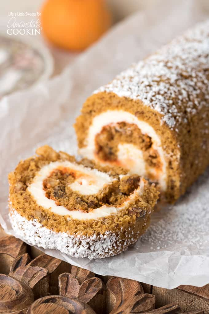 This Pumpkin Roll recipe is the perfect recipe to feature on the Thanksgiving dessert table!