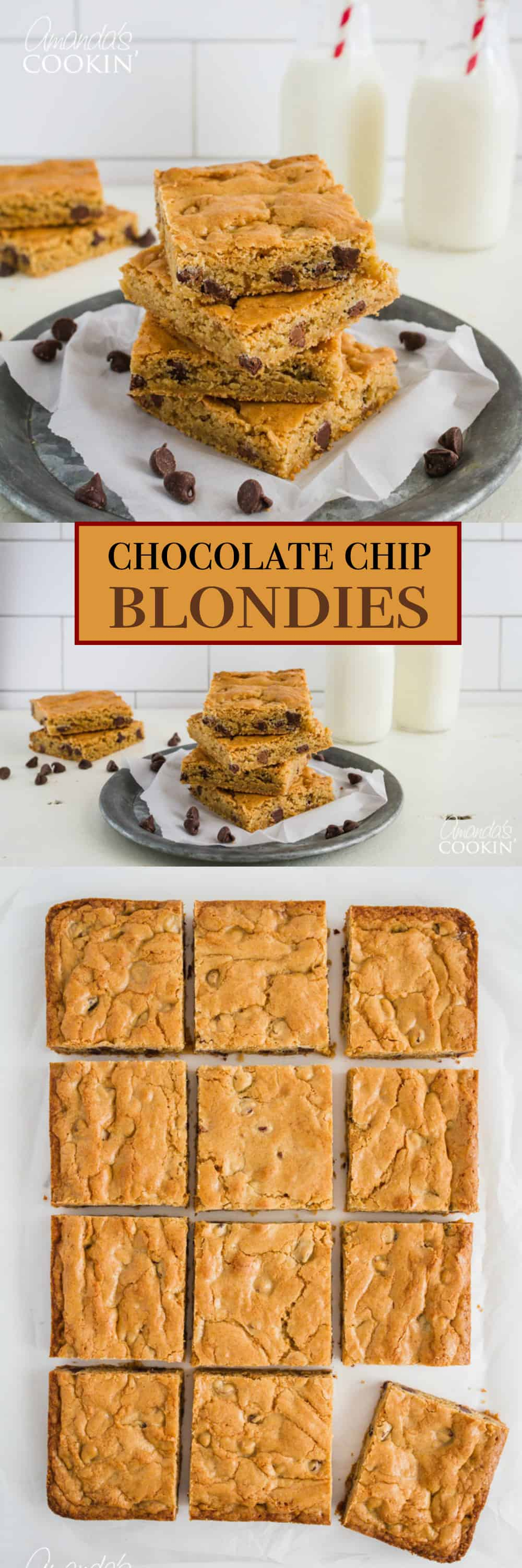A brownie and cookie combine in sweet harmony to create these soft, chewy and oh so delightful Chocolate Chip Blondies. It's the best of both worlds!