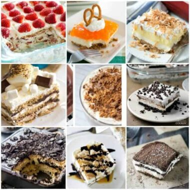 collage of different layered desserts