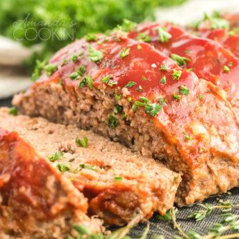 sliced glazed meatloaf