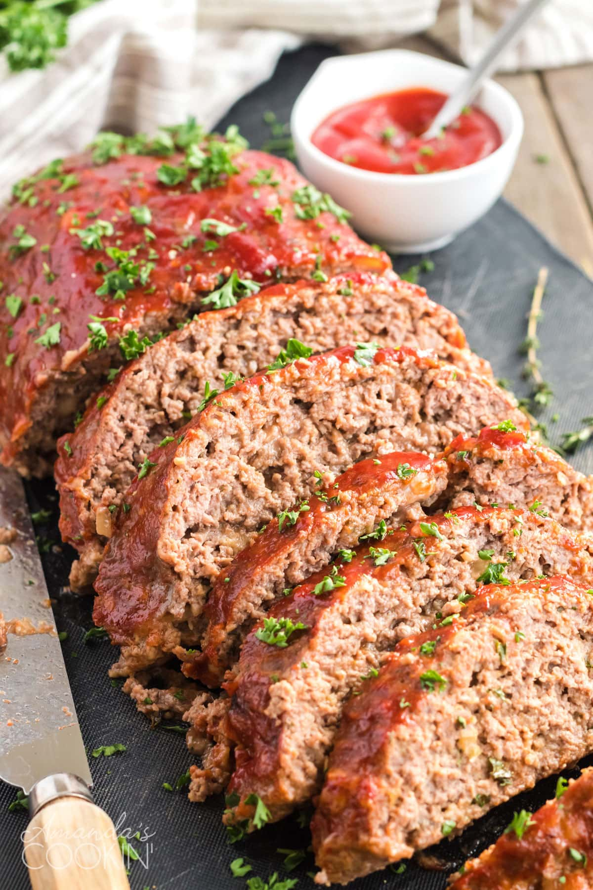 sliced meatloaf with glaze