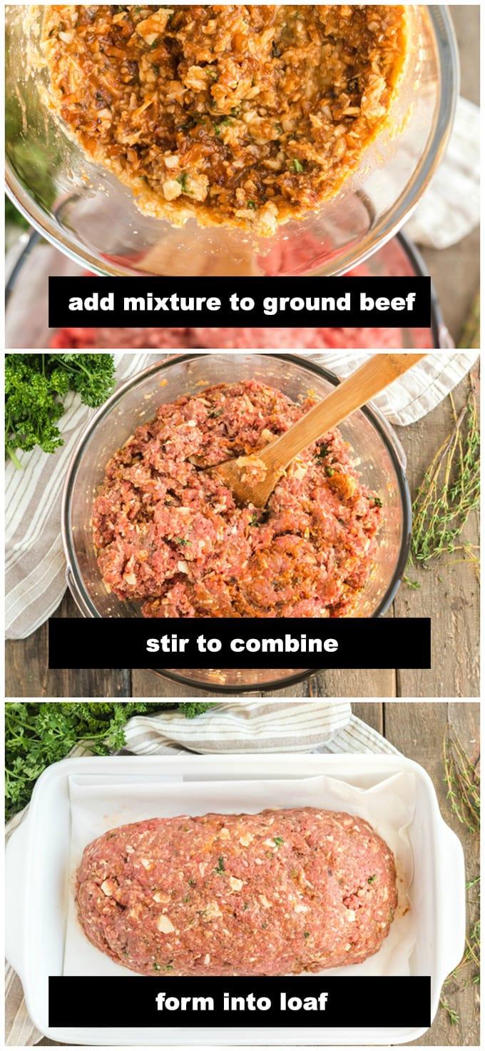 adding onion mixture to ground beef