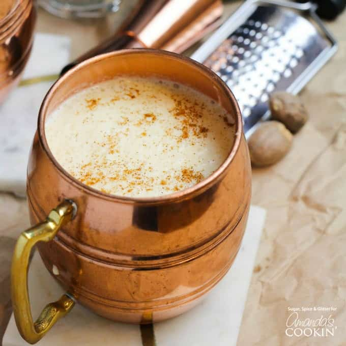 Homemade Eggnog Cocktail in a copper cup