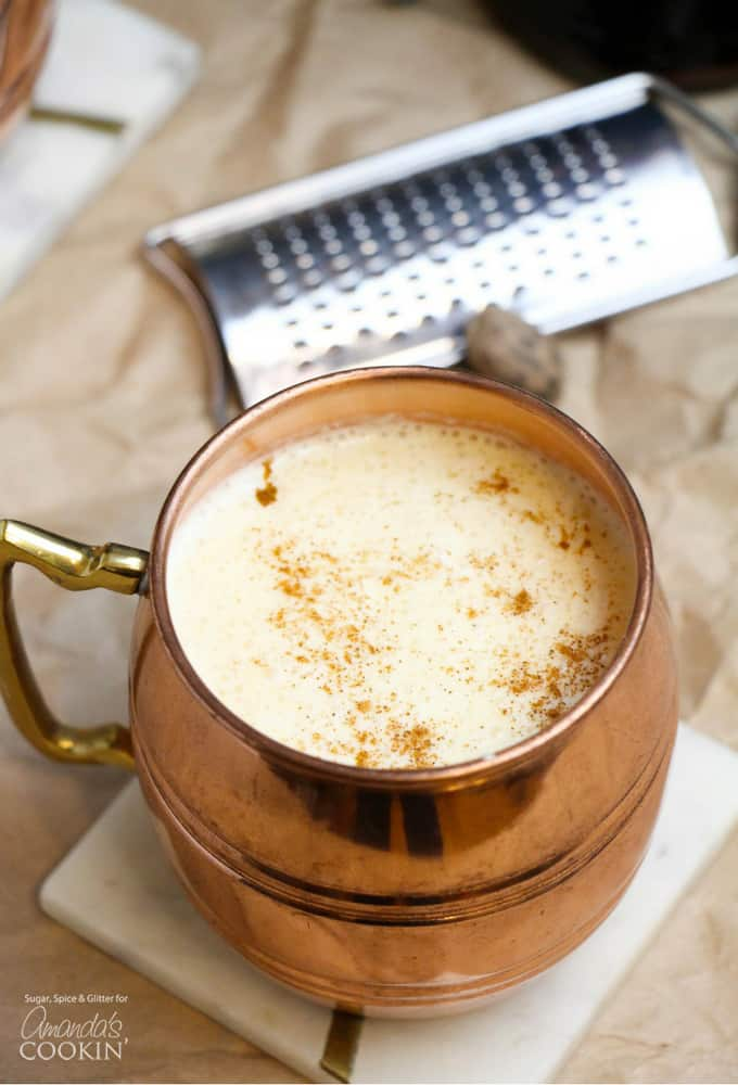 copper mug of eggnog cocktail