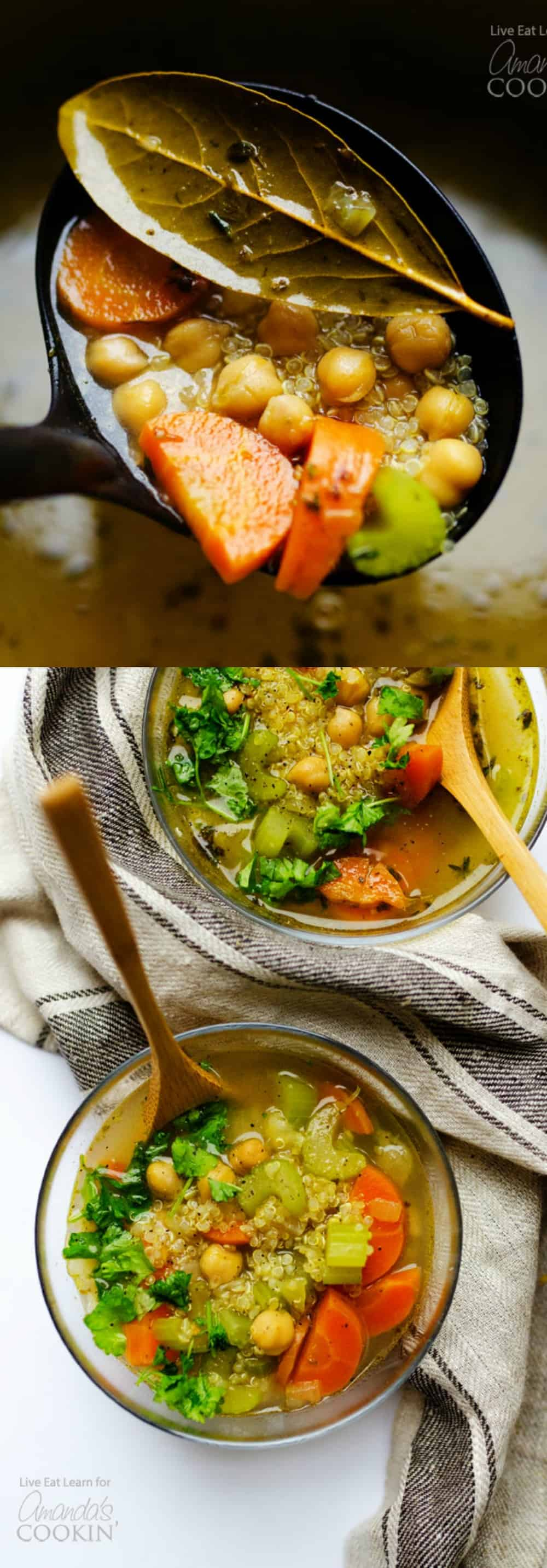Need a healthy vegetable soup to warm your bones this winter? This hearty soup with quinoa and chickpeas has you covered!