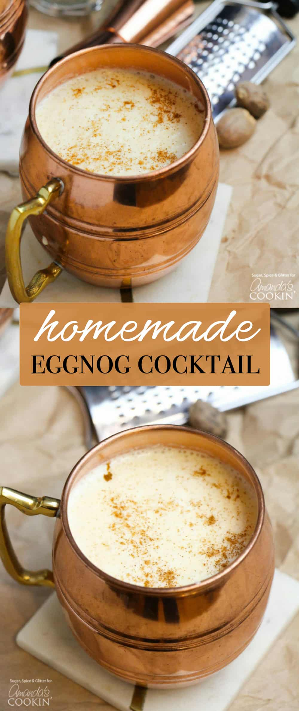 This Homemade Eggnog Cocktail is thick, rich and flavorful - everything a good eggnog should be. A classic holiday cocktail you'll want to make a tradition!