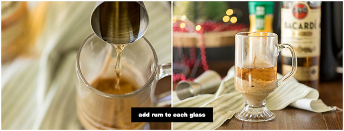 adding rum to a clear mug