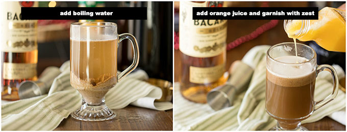 adding boiling water and orange juice to hot buttered rum