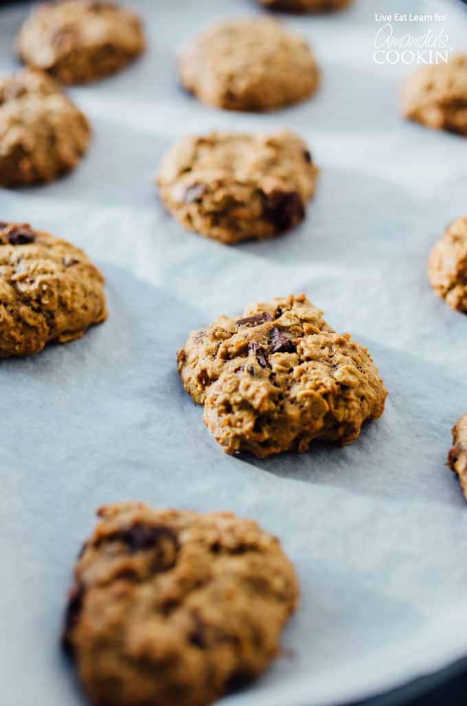 sweet potato oat cookies out of oven