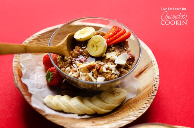 Breakfast quinoa in a bowl with fruit