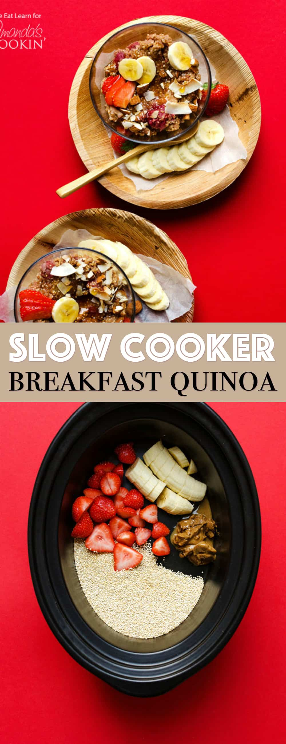 This Slow Cooker Breakfast Quinoa is a dump-it and forget-it kind of meal. Throw all the makings of a delicious breakfast in your slow cooker, let it cook overnight, and in the morning...breakfast is served!