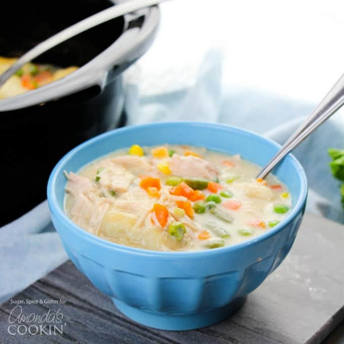 This crockpot chicken and dumplings recipe is creamy, hearty and delicious with a to-die-for gravy and the perfect balance of protein and vegetables.