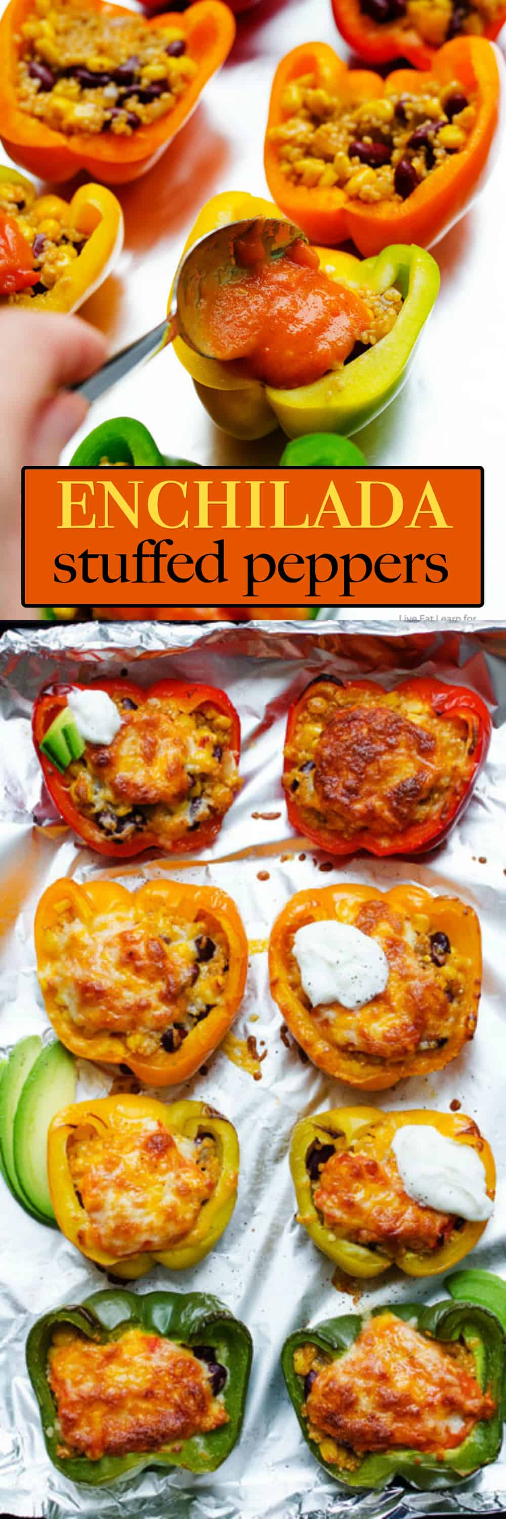 These Enchilada Stuffed Peppers are packed with spiced quinoa, beans, corn, shredded Monterey jack cheese then drizzled with a simple homemade enchilada sauce!